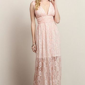 Flower V Top See-Though Lace Maxi Dress