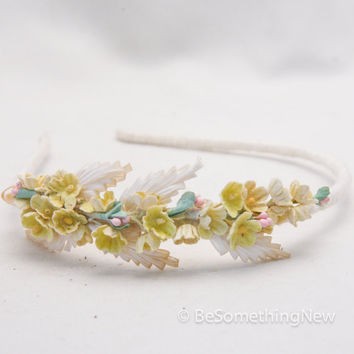 headband of little vintage yellow flowers, headbands for women and teens