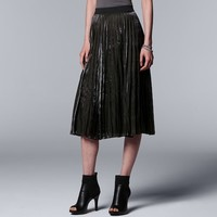 Women's Simply Vera Vera Wang Pleated Shine Midi Skirt