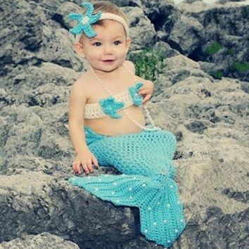 Light Blue Mermaid Newborn Baby Photo Photography Props Infant Handmade Outfits Crochet Knit Cocoon Set Knitted baby Costume