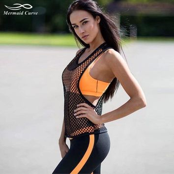 Mermaid Curve Summer 2017 Black Hollow Sports Vest Women Sexy Tank Top Loose Breathable Fitness T Shirt Female Workout Clothing