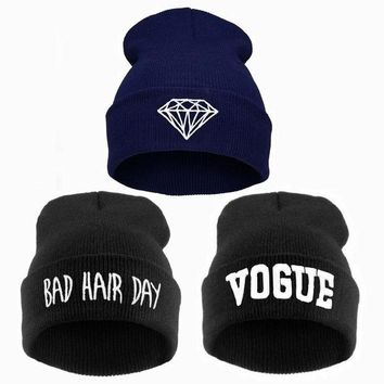 DCCKWQA winter bad hair day beanie women men Diamond beanies VOGUE hat, knitted ski skullies bonnet crochet casquette,gorros de lana