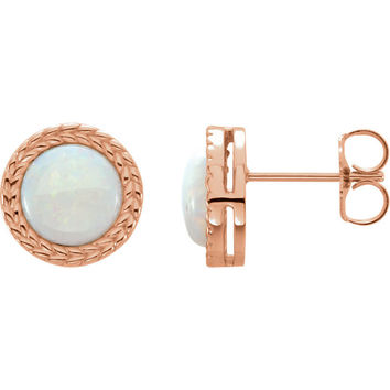 14K Gold Cabochon Opal Bezel Leaf Earrings