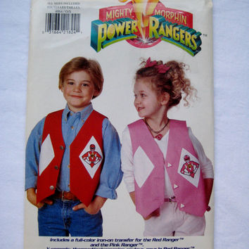 Butterick 4064 Sewing Pattern Mighty Morphin Power Rangers Vest Iron On Transfer Kid Girl Boy Clothes All Child Size 4 - 14 UNCUT