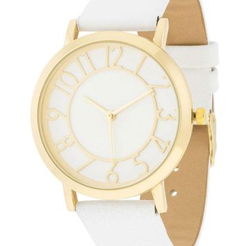 J Goodin Stylish Women's Gold Watch With White Leather Strap