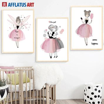 Cartoon Watercolor Lovely Girl Wall Art Canvas Painting Nordic Posters And Prints Wall Pictures Kids Room Girl Room Quadro Decor