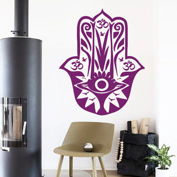 Fatima Hand Wall Decals Hamsa Indian Buddha Om Oum Sign Floral Design Birds Decals Gym Home Vinyl Decal Sticker Interior Room Decor kk710
