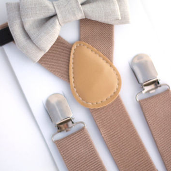 SUSPENDER & BOWTIE SET.  Tan suspenders. Ivory chambray bow tie. Newborn - Adult sizes.
