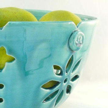 Sculpture Art Vessel Ceramic Fruit Bowl in Aquamarine Blue - Clay Sculpture Limited Edition - Art Object