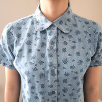 Vtg Chambray Floral Short Sleeve Button Up MS by LoveOlives