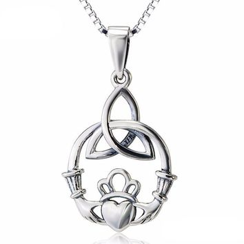 Sterling Silver Trinity Celtic Knot and Claddagh Necklace