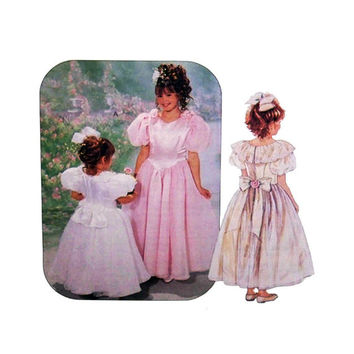 "1990's McCall's 6439 Girl's Easter, Formal, Flower Girl Dress in Size 4- 6 || Breast 23- 25"" /58- 64cm 