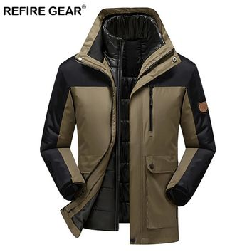 ReFire Gear 3 In 1 Autumn Winter Windproof Thermal Sport Jackets Men Pocket Hooded Waterproof Hiking Jacket Hunting Clothes Coat