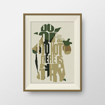 Star Wars Cross stitch pattern, BOGO, Quote cross stitch, PDF counted cross stitch pattern - Yoda Do Or Do Not There Is No Try, P080