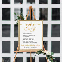 Gold Order of Events Sign - Wedding Timeline Sign - Wedding Sign Instant Download - Wedding Itinerary - We Do Honey
