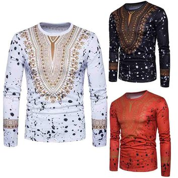 Men's Casual African Print O Neck Pullover Long Sleeved T-shirt Top Blouse