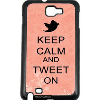 Keep Calm And Tweet On Coral Floral Samsung Galaxy Note 2 Note II N7100 Case Fits Samsung Galaxy Note 2 Note II N7100