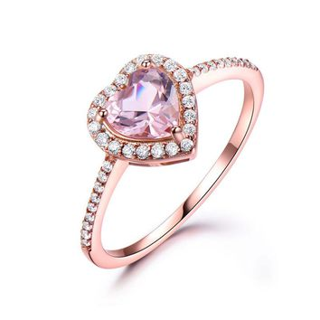 Silver 925 Nano Morganite Rings For Women Engagement Ring