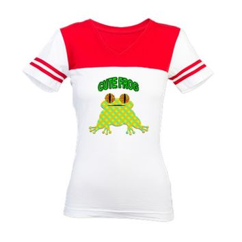 Cute Frog With Text Jr. Football T-Shirt