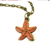 ON SALE coral starfish necklace - starfish necklace - starfish jewelry - starfish pendant - coral necklace - coral jewelry - coral pendant