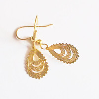 Earrings Goldtone Metal Earwires Handmade Restyled Gift for Her Mother's Day Birthday