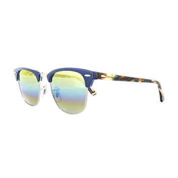 Ray-Ban Sunglasses Clubmaster 3016 1223C4 Blue Gold Rainbow Flash Small 49mm