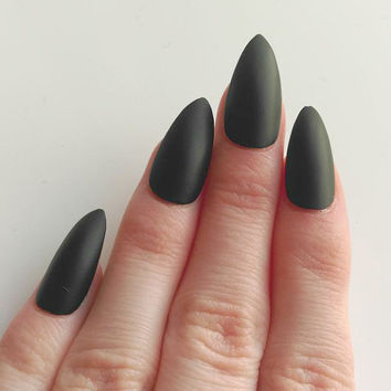 Matte Black Stiletto Nails False Fake Acrylic Handpainted Press On Nail