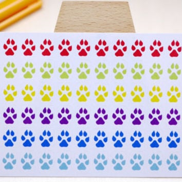 PLANNER STICKER || dog paw || animal || small rainbow colored | for your planner and bullet journal