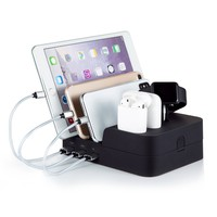 6 Port Airpods Apple Watch and Smartphone USB Charging Station Dock Quick Charger Detachable Dock Organizer for Multiple Devices iphone ipad Kindle Tablet by Marstree
