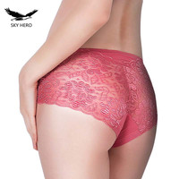 SKYHERO Underwear Women Panties Perspective Sexy Brand Full Transparent Panty Woman Lace Knickers Period Panty Plus Size