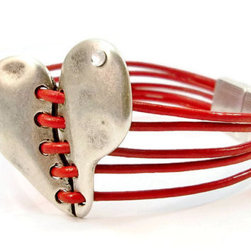 Red Leather and Silver Heart Women's Bracelet, Silver Stitched Heart, Magnetic Clasp, Red and Silver, Leather Bracelet, Multi Strands