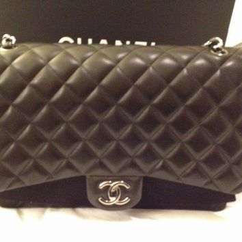 CHANEL Large Classic Black Flap Bag Handbag Silver Hardware AUTHENTIC BRAND NEW