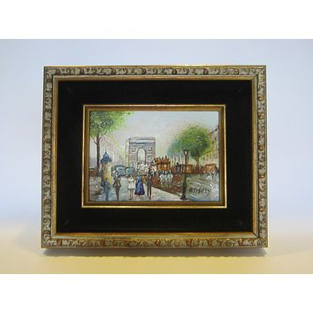 B Pitney Architectural Paris France Arc De Triomphe Enamel Signature Painting On Copper