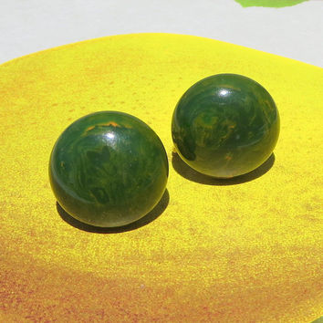 Green Bakelite Earrings, Marbled Apple Swirl Buttons, Vintage, Art Deco Era, Collectible, Costume Jewelry, CIJ