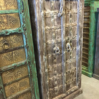 Antique Cabinet, Teak Doors, India Furniture, White Rustic Almirah, Southwestern, Iron Nailed Spanish, Old World FREE SHIP