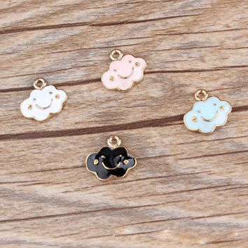 10PCS European Bracelet Enamel Smile Clouds Charm Pendant Jewelry Making Findings Zinc Alloy Charms For DIY Cheap Price