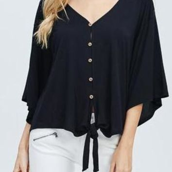 Ainsley Bamboo Tie Front Top in Black
