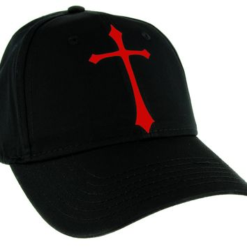 Red Medieval Holy Gothic Cross Hat Baseball Cap