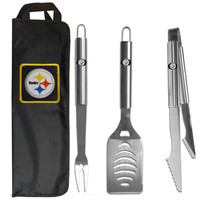 Pittsburgh Steelers 3 pc Stainless Steel BBQ Set with Bag FBQB160