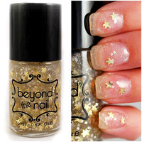 Golden Twilight Nail Polish - Gold Stars, White Glitter & Holographic