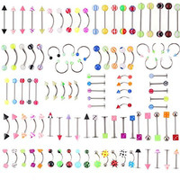 SHINEstlye Lot 110 PCS Body Jewelry Piercing Eyebrow Navel Belly Tongue Lip Bar Ring 22 Styles