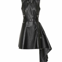 Belted leather dress