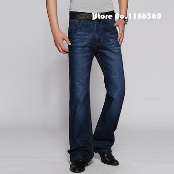 Men Flare Jeans New 2017 Garment Washed Denim Blue Jeans Male Bell Bottom Denim Pants Free Shipping