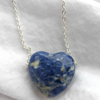 Blue Gemstone heart pendant and sterling silver necklace.