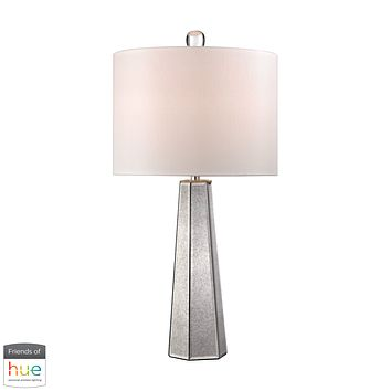 Hexagonal Mercury Glass Table Lamp - with Philips Hue LED Bulb/Dimmer