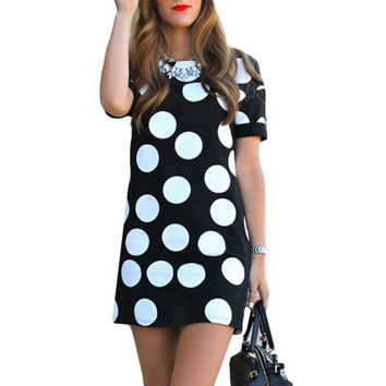 Women's Casual Black and White Polka Dot Printed Dress Summer Women Straight Dresses O-Neck Short Sleeve Mini Shift Dress