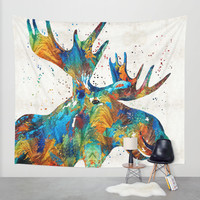 Colorful Moose Art - Confetti - By Sharon Cummings Wall Tapestry by Sharon Cummings