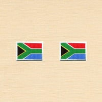 Set of 2 pcs Mini South Africa Flag Iron On Patches Sew On Appliques