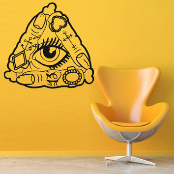 Wall decal decor decals art sticker all seeing eye annuit coeptis illuminati god triangle mason finger (m773)