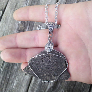 Real Fossilized Sand Dollar Pendant, Fossil bone necklace, Stone necklace, boho jewelry, primitive necklace, gypsy shaman necklace fossil